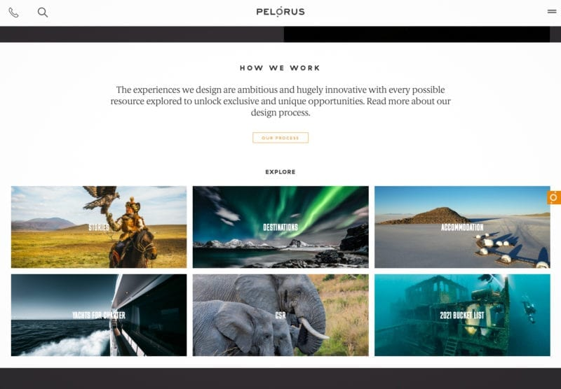 home screen Pelorus website