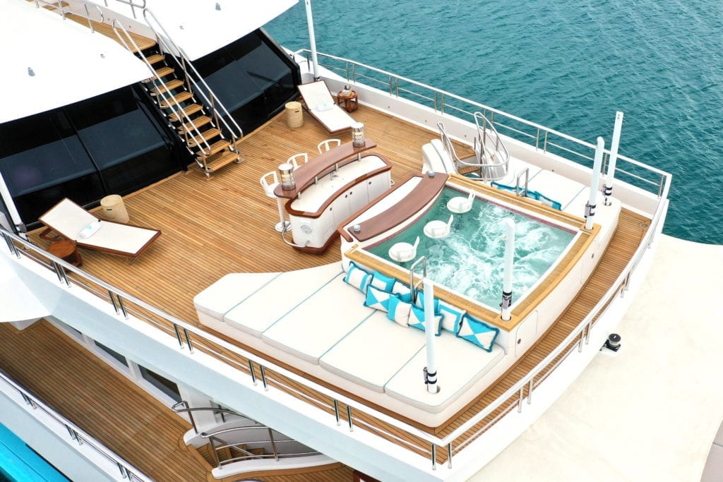 Axioma yacht upper deck with Jacuzzi