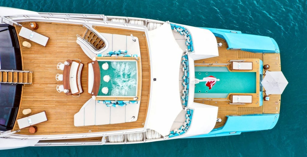 Aerial of the Aft Decks on Axioma Yacht
