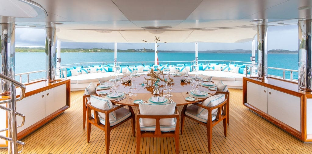 Exterior Dining on board Axioma Yacht