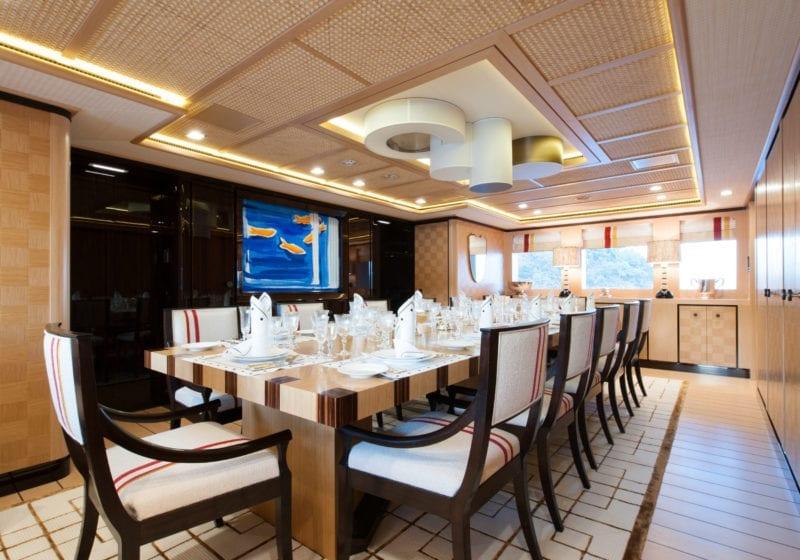 Interior Dining on Axioma Yacht