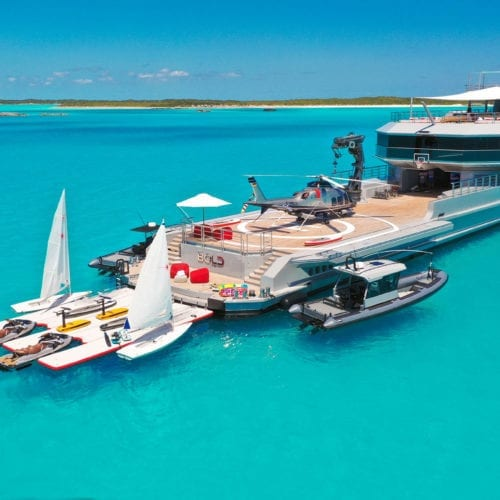 Aerial image of Bold Yacht in the Bahamas
