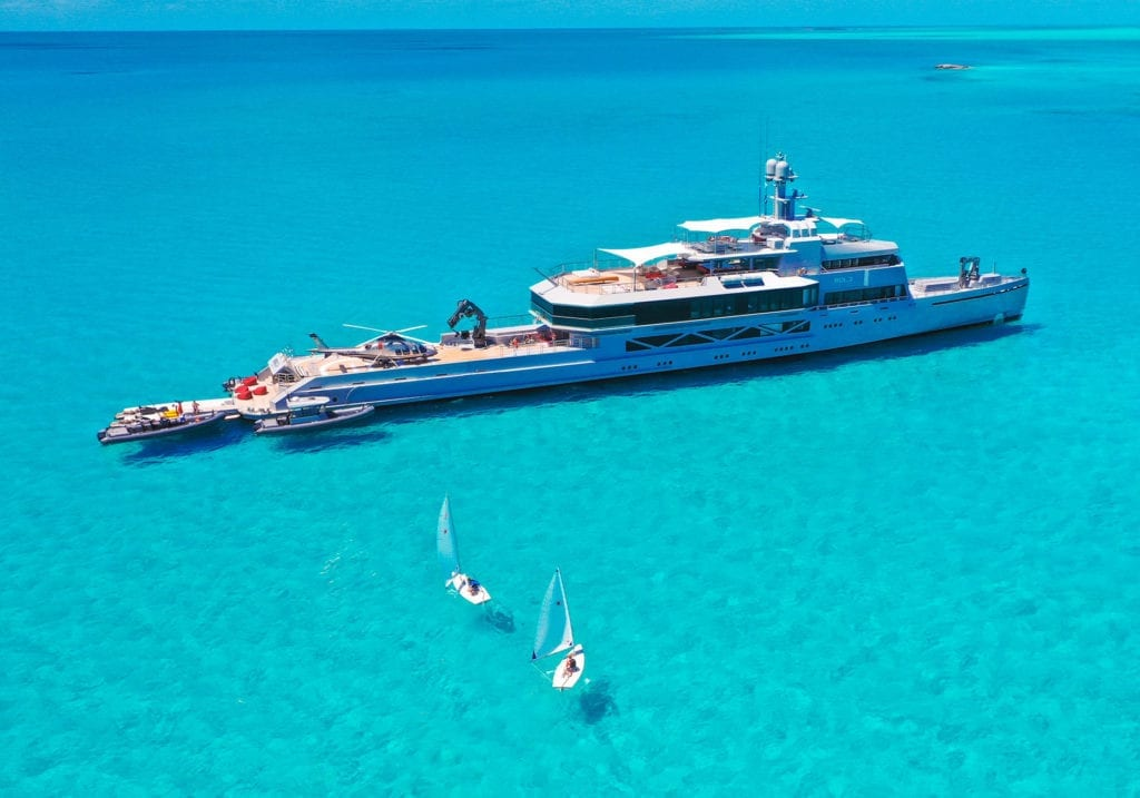 Bold Yacht Aerial with water toys Bahamas