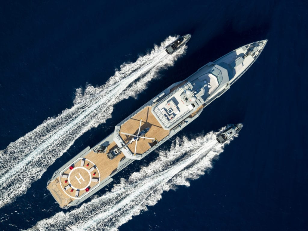 Aerial of Bold Yacht with Tenders © Guillaume Plisson
