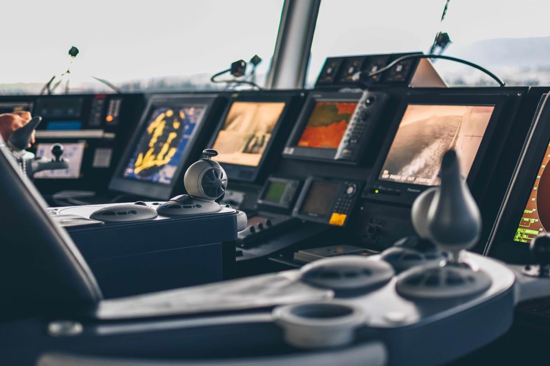 Bridge control panel on a luxury yacht