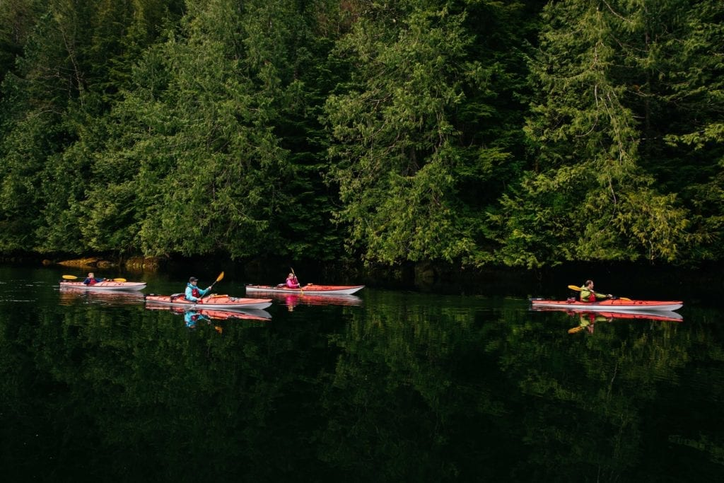 British Columbia kayaking across lake