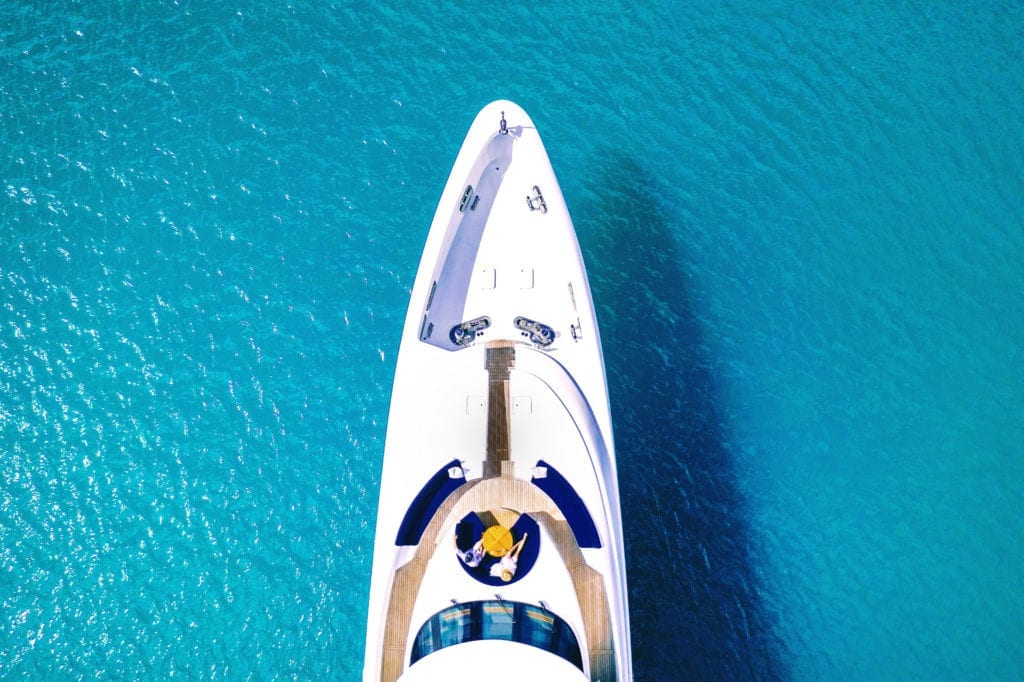 Aerial of the bow of De Lisle III Yacht