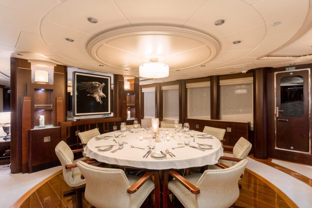 Interior Dining on De Lisle III Yacht