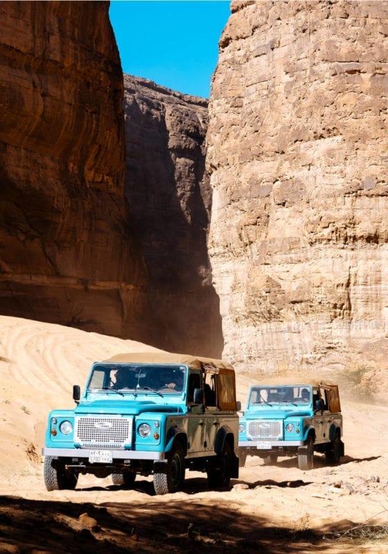 Jeeps roaming through the desert in Saudi Arabia