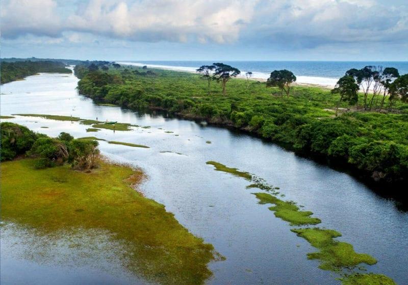 Aerial view of a coastal waterway in Gabon