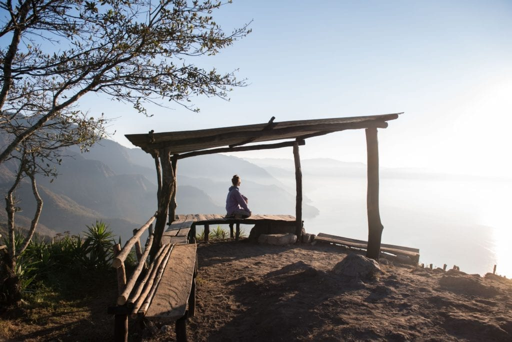 Guatemala morning sunrise over lake Atitlan