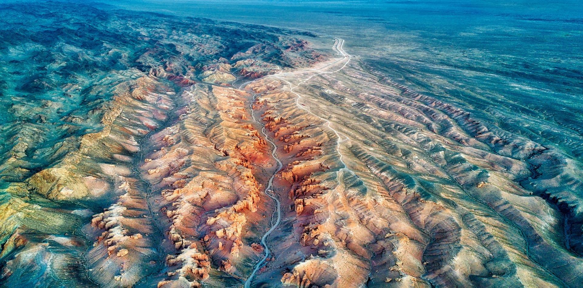 kazakhstan mountain range aerial