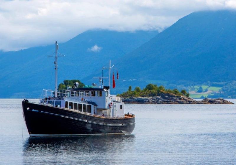 HMS Gassten in a Norwegian fjord