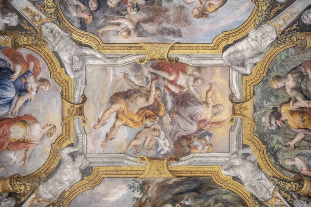 ceiling fresco holy deer city lodge italy