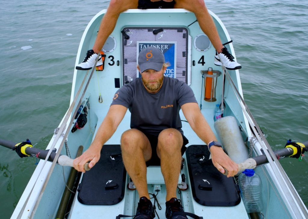 Jimmy during training on the water wearing Pelorus branded