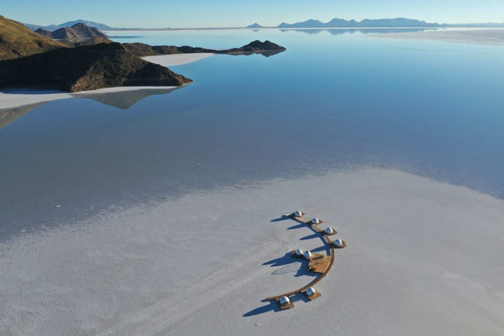 Drone image of Kachi Lodge in Bolivia