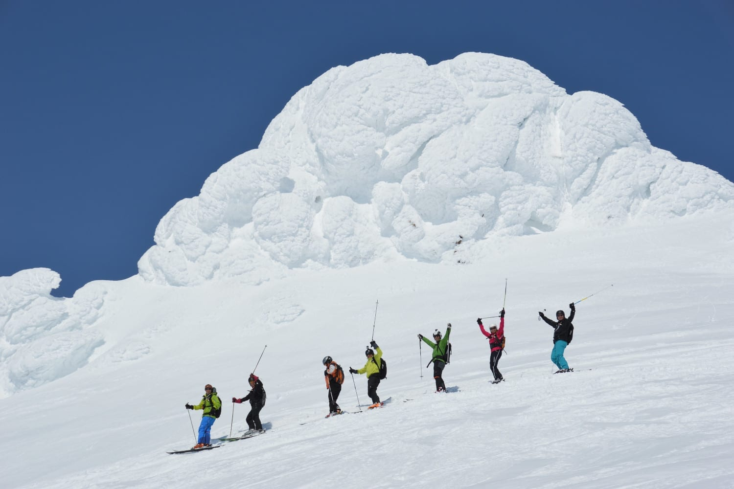 Group of skiers in Kamchatka