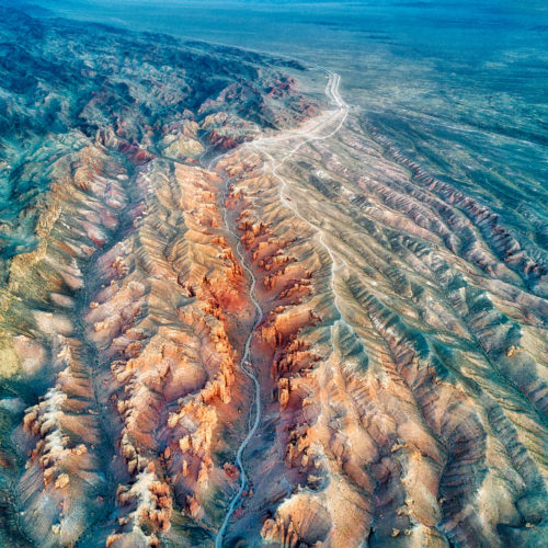 aerial mountain range view kazakhstan