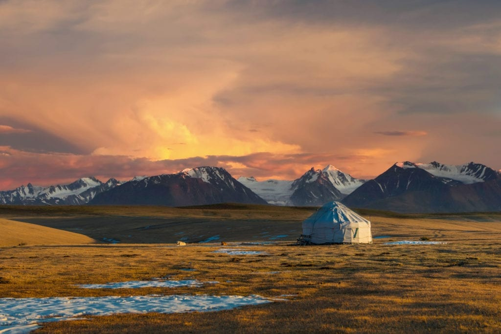 remote yurt camp kazakhstan mountains landscape