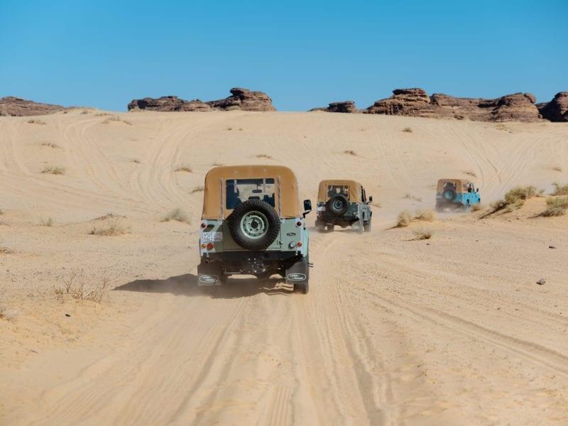 landcover cruise across the desert in AlUla, Saudi