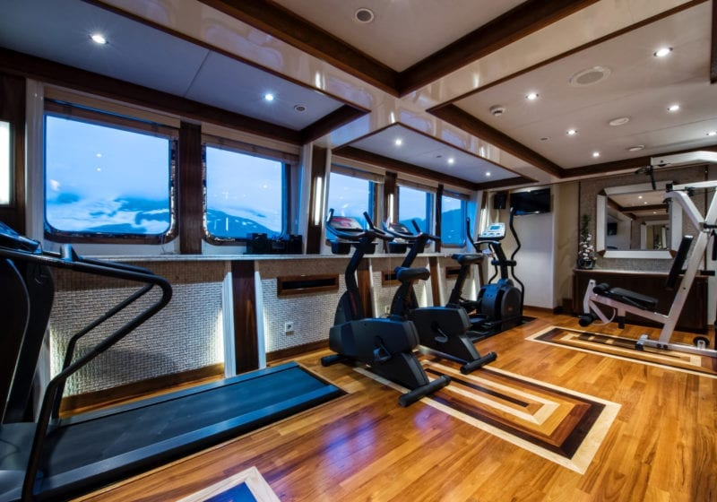 Gym on board Legend Yacht