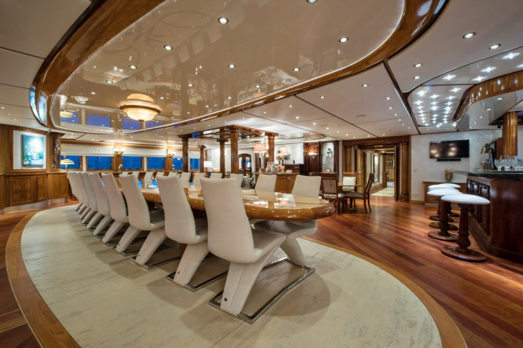 Main Salon Dining on Legend Yacht