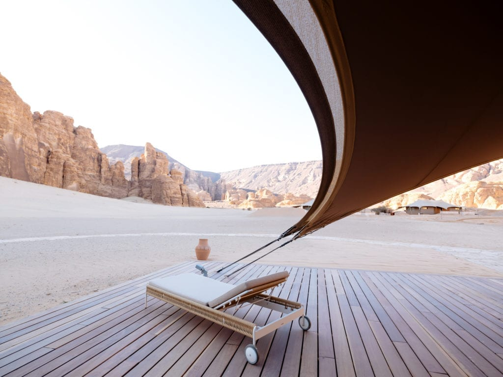 view across the desert from a luxury tented camp in the AlUla desert, Saudi