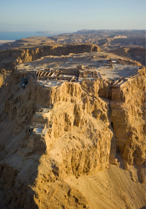 Aerial view of Masada fort in Israel