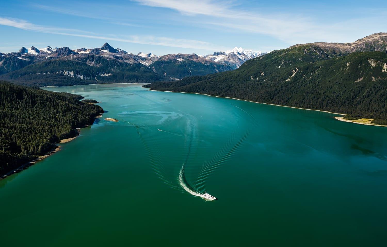 Mysky yacht in the fjords of Alaska