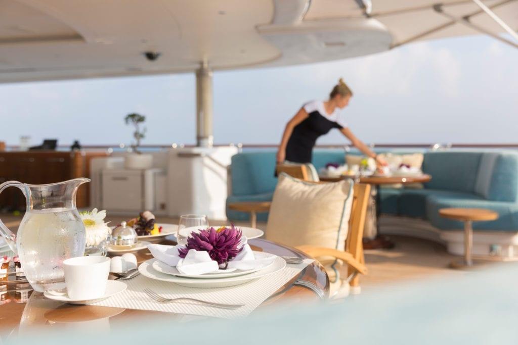 Breakfast Service on Nirvana Yacht