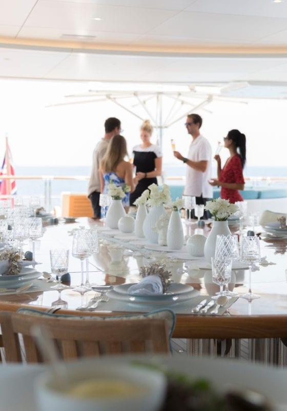 Exterior Dining on Nirvana Yacht