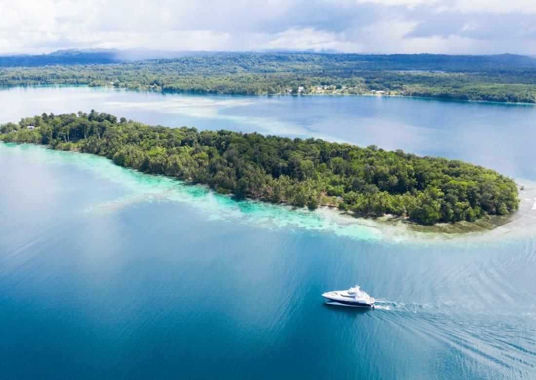 A yacht in the Solomon Islands