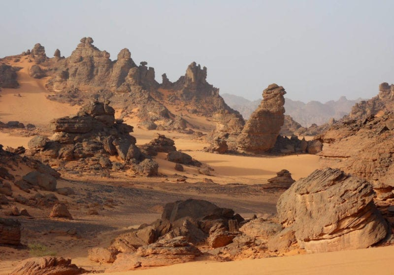 Strange rock formations in the Chad desert