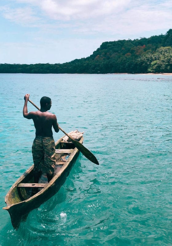 Traditional fisherman off the coast of Sao Tome and Principe