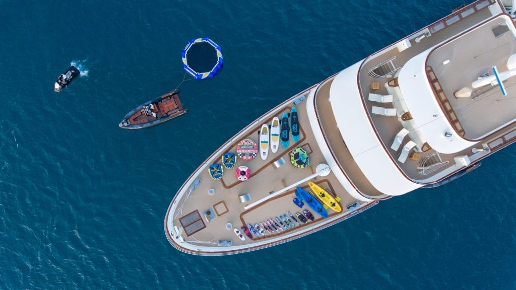Aerial of the Foredeck with Water Toys on Sherakhan yacht