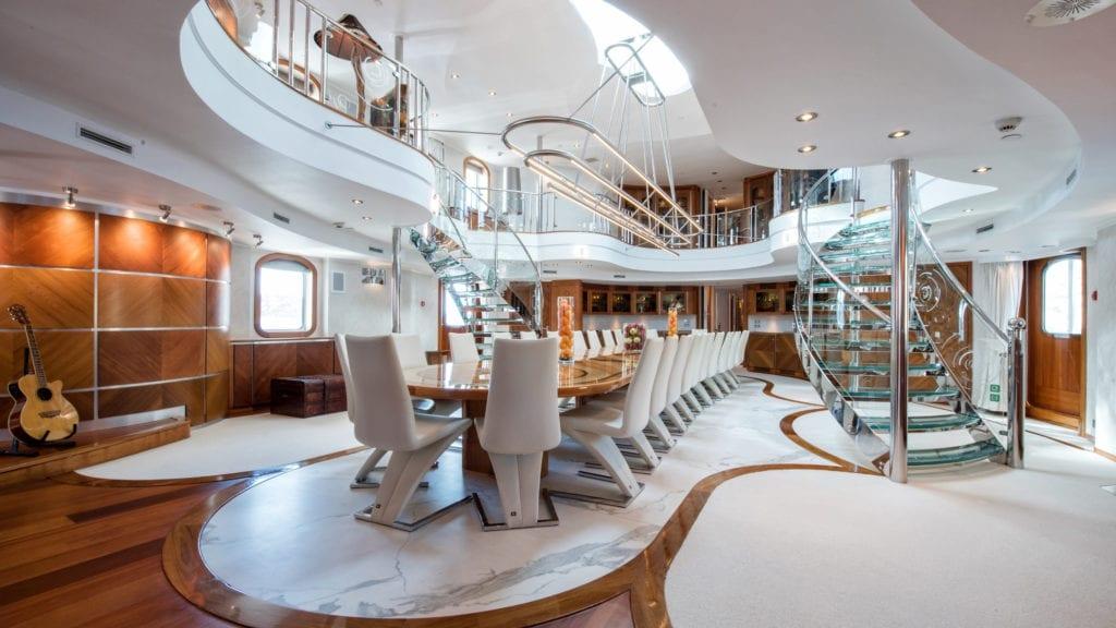 Dining Atrium on board Sherakhan Yacht