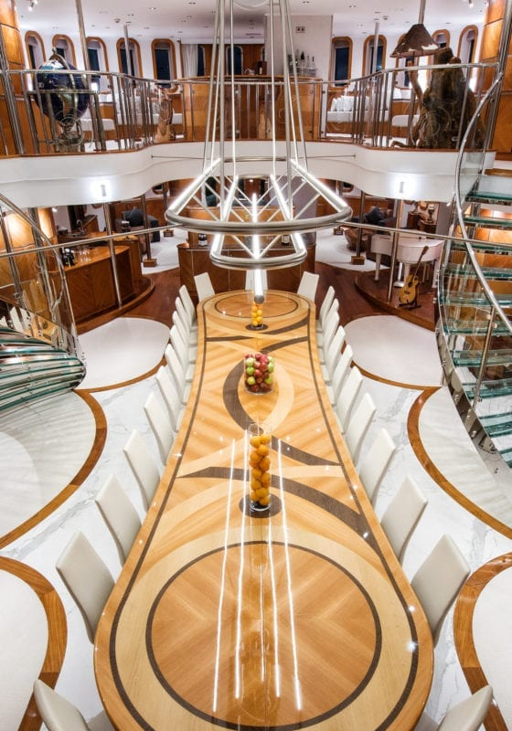 Interior Dining Table on Sherakhan Yacht