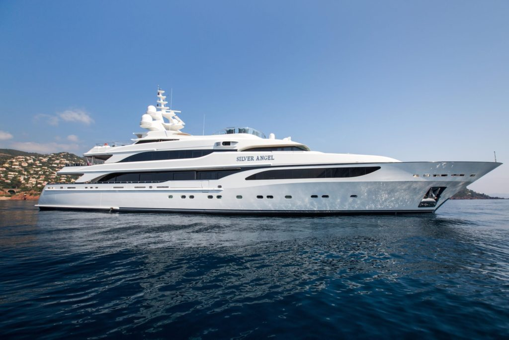 Profile view of Silver Angel Yacht