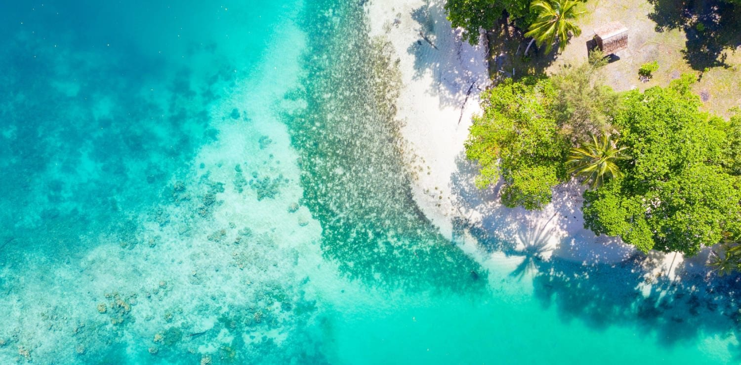 Aerial view of a beach in the Solomon Islands