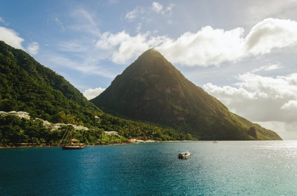St Lucia twin mountains, Caribbean