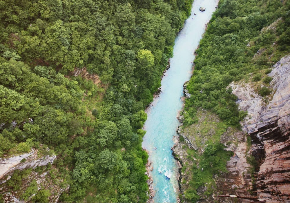 Birds eye view of Tara Canyon in Montenegro