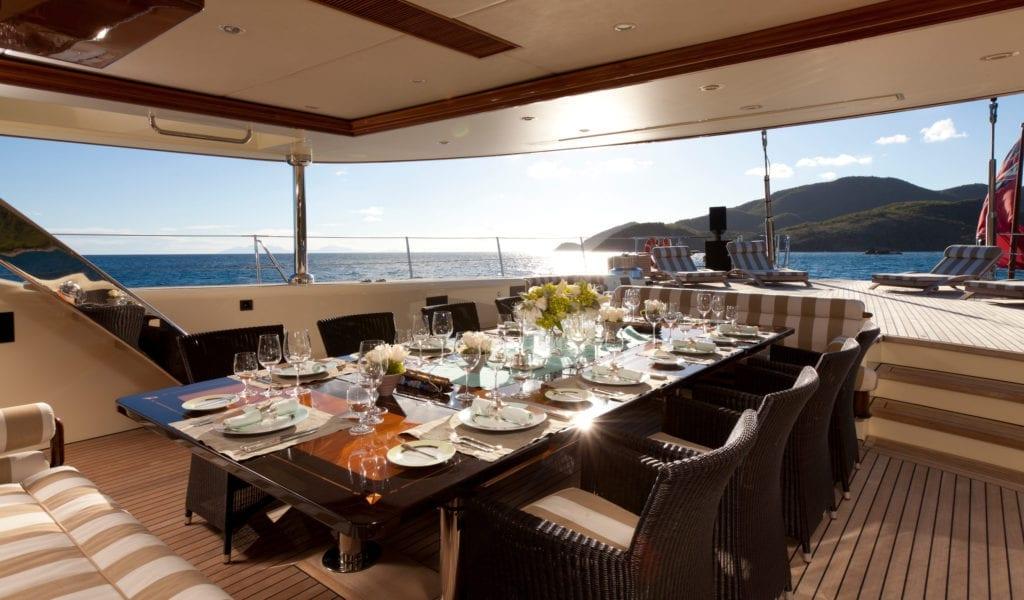 Exterior Dining on Tiara yacht
