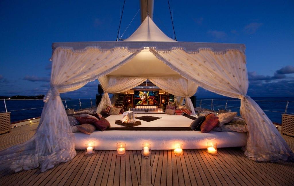 Tiara Yacht Exterior Bedouin Tent Cinema Set up