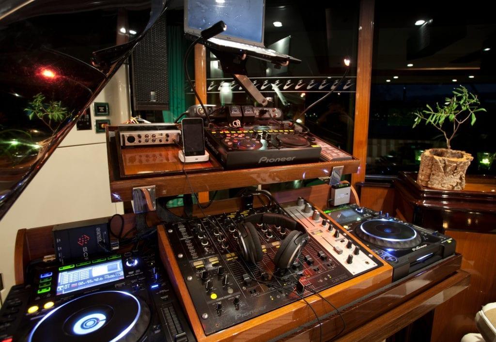 DJ Decks on Tiara Yacht