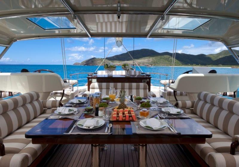 Flybridge Dining on Tiara Yacht