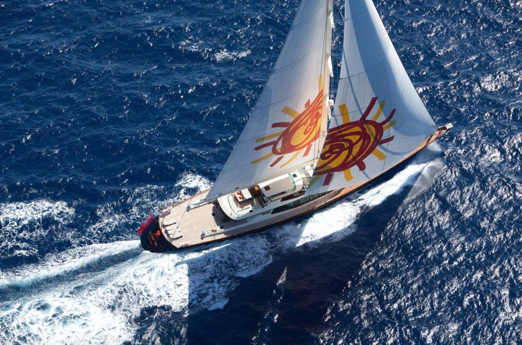 Aerial Sailing Image of Tiara Yacht