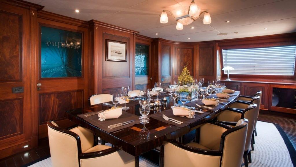 Tiara yacht Interior Dining