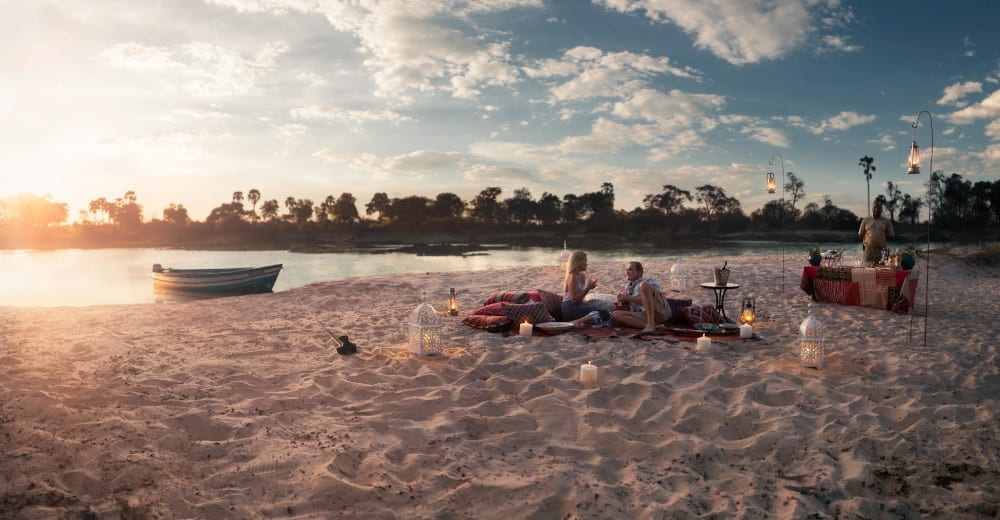 Drinks on the beach at Togabezi Lodge