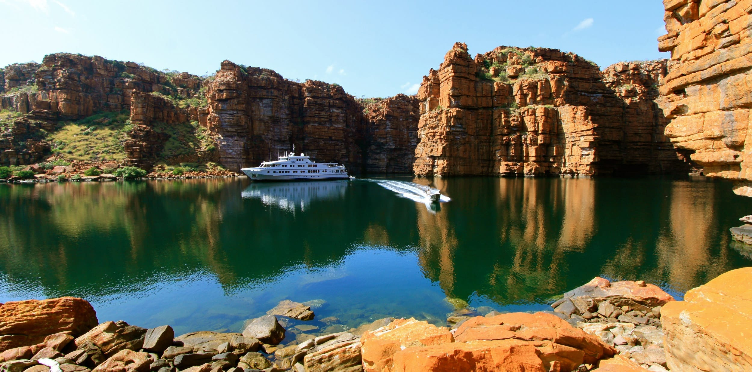 True North anchored by cliffs