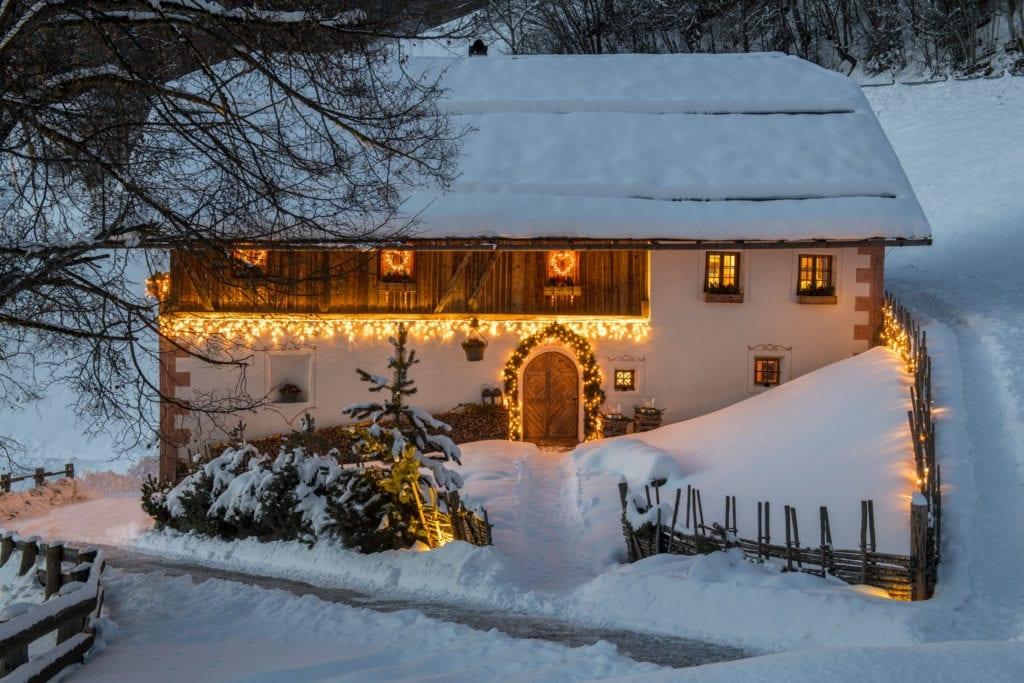 exterior white deer mountain lodge dolomites snow winter